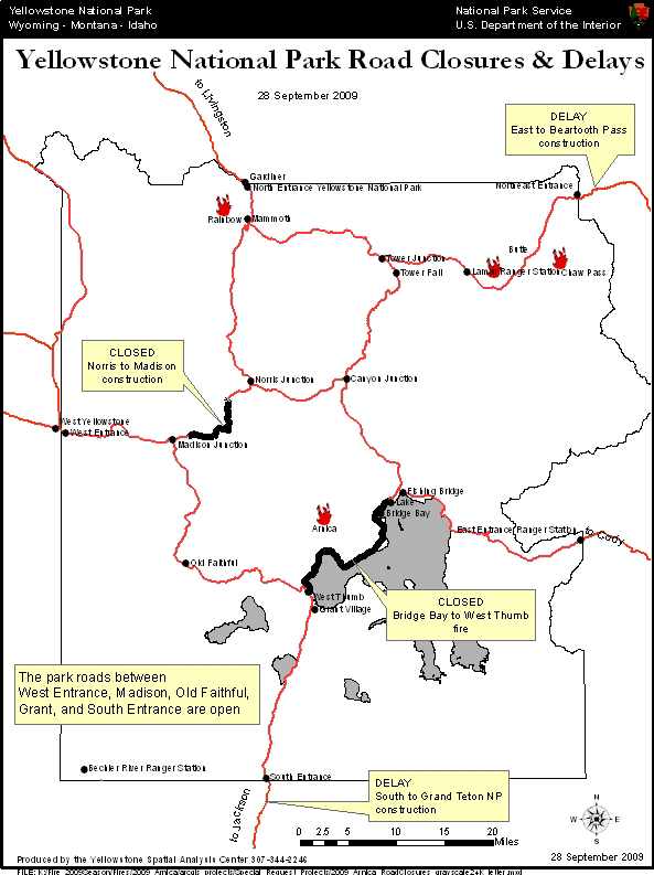 Yellowstone National Park Arnica Fire Road Closure Map Yellowstone