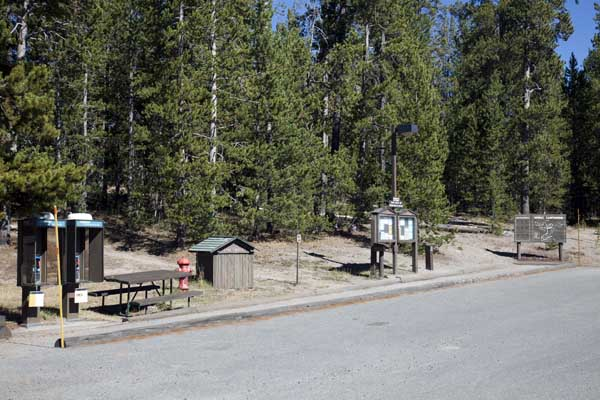 Norris Campground, Phones, Fire Hydrant, Registration Point, Message Board and Map by John William Uhler © Copyright