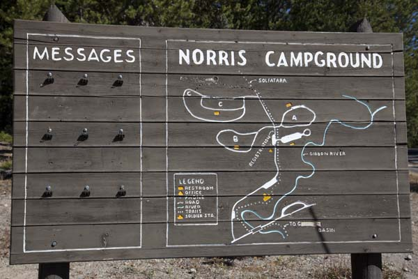 Norris Campground Message Board and Map by John William Uhler © Copyright