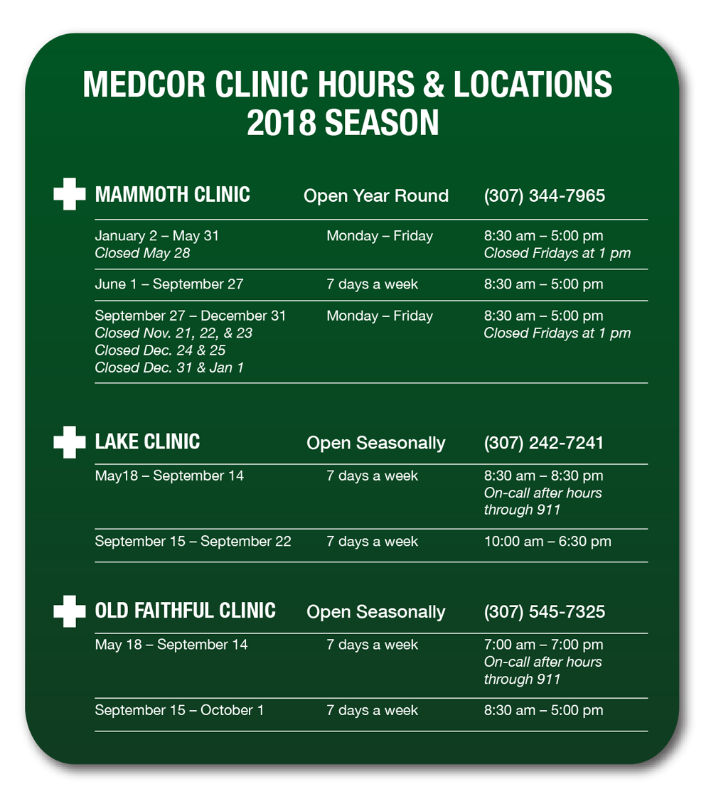 Yellowstone National Park 2018 Clinic Opening, Closing and Hours ~ Medcor Image