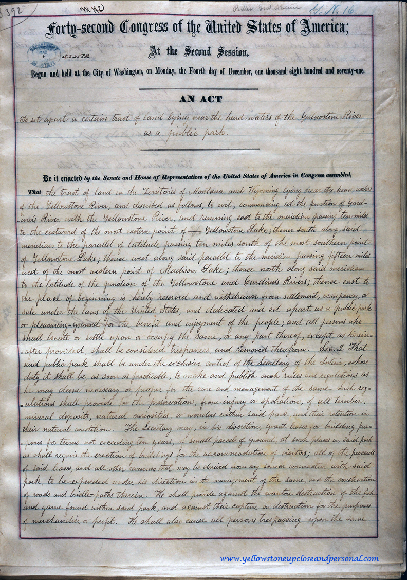 Yellowstone Congressional History - Actual Copy of Signed Senate Bill S.392 - March 01, 1872 - Page One