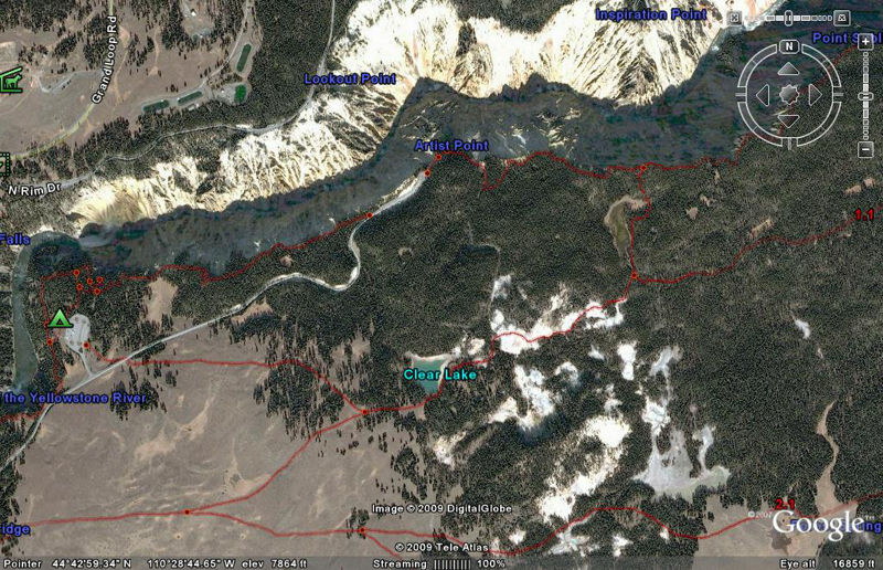 Clear Lake Trail Map by GoogleEarth - Yellowstone National Park