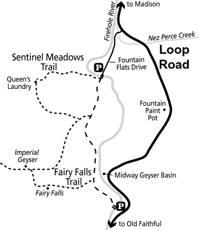 Fairy Falls, Imperial Geyser, Queen's Laundry Trail Map - NPS Image