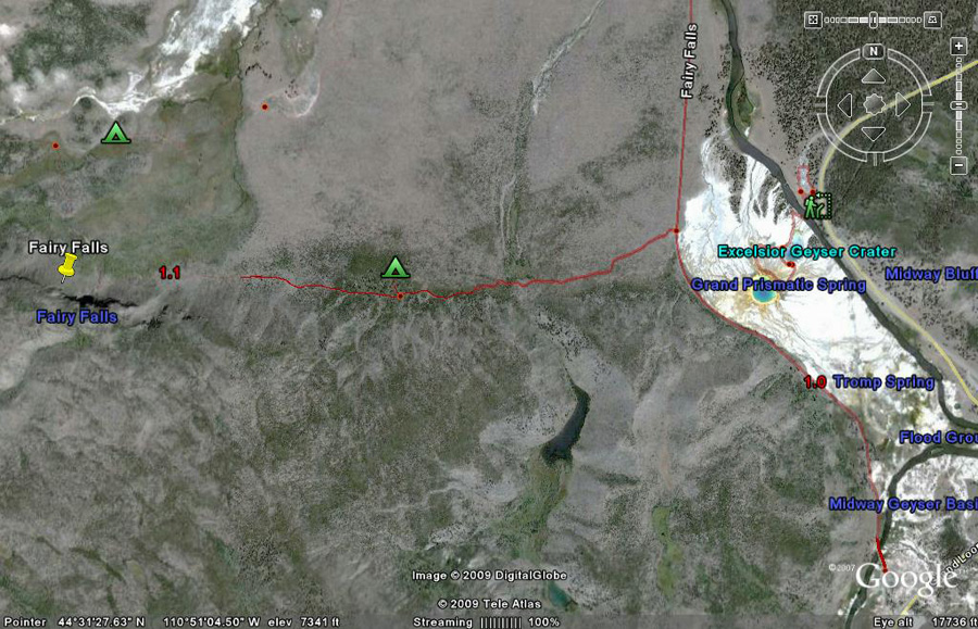 Fairy Falls Trail Map by GoogleEarth - Yellowstone National Park
