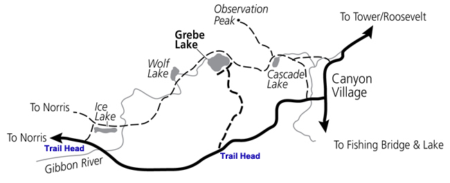 Ice Lake to Grebe Lake Hiking Map - NPS Image