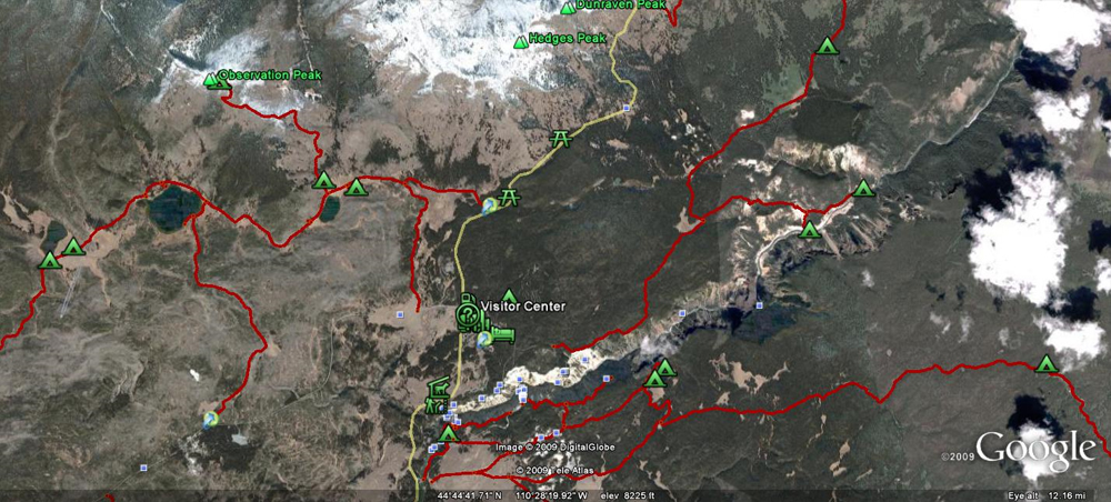 Observation Peak Hike Satellite Map by GoogleEarth - Yellowstone National Park