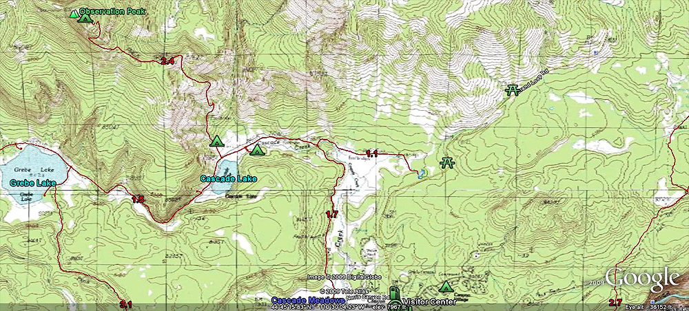 Observation Peak Topo Hike Map by GoogleEarth - Yellowstone National Park