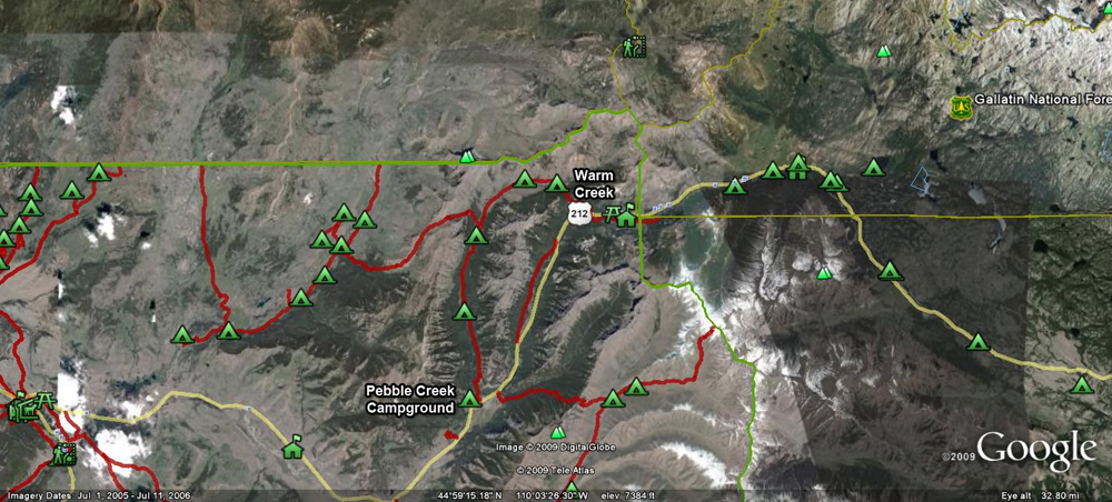 Pebble Creek Satellite Map by GoogleEarth - Yellowstone National Park