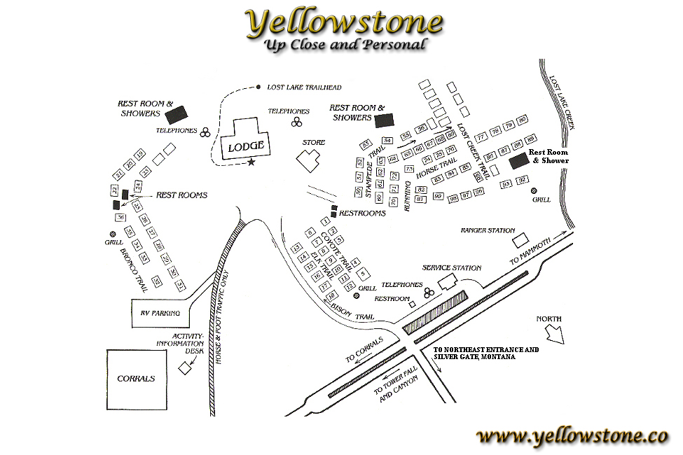 Roosevelt Lodge Lodging Map ~ Yellowstone National Park