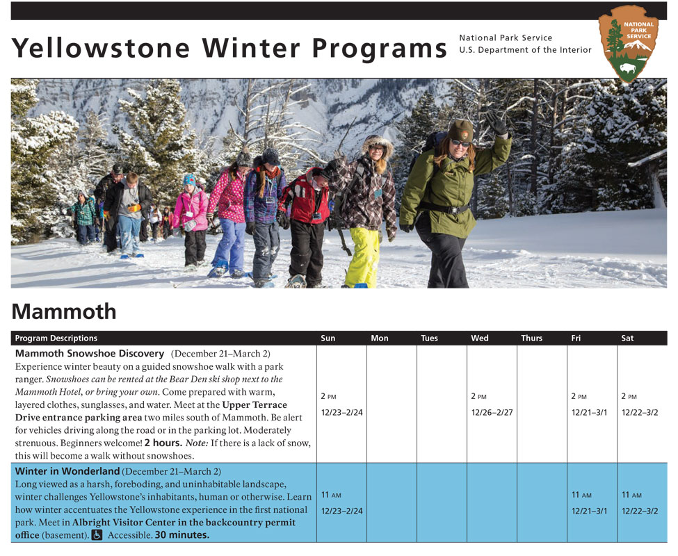 Mammoth Hot Springs Winter Ranger Led Programs