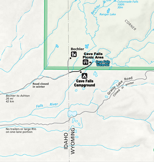 Bechler, Cave Falls Campground and Picnic Map ~ the Bechler Region - Southwest Corner of Yellowstone National Park