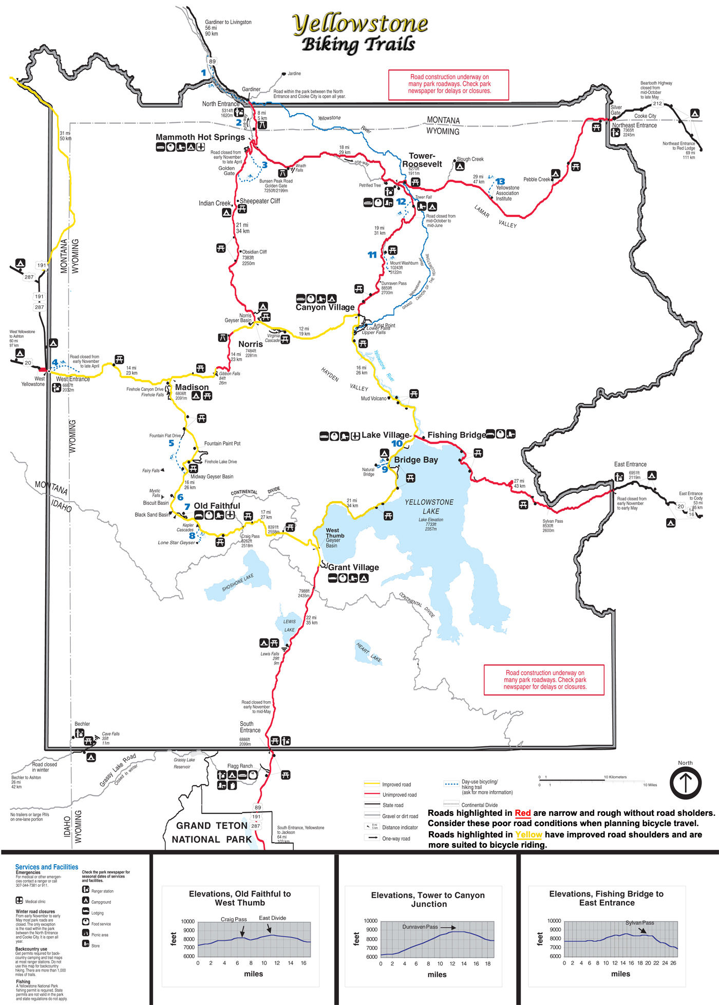 Yellowstone National Park Biking Map - NPS Document