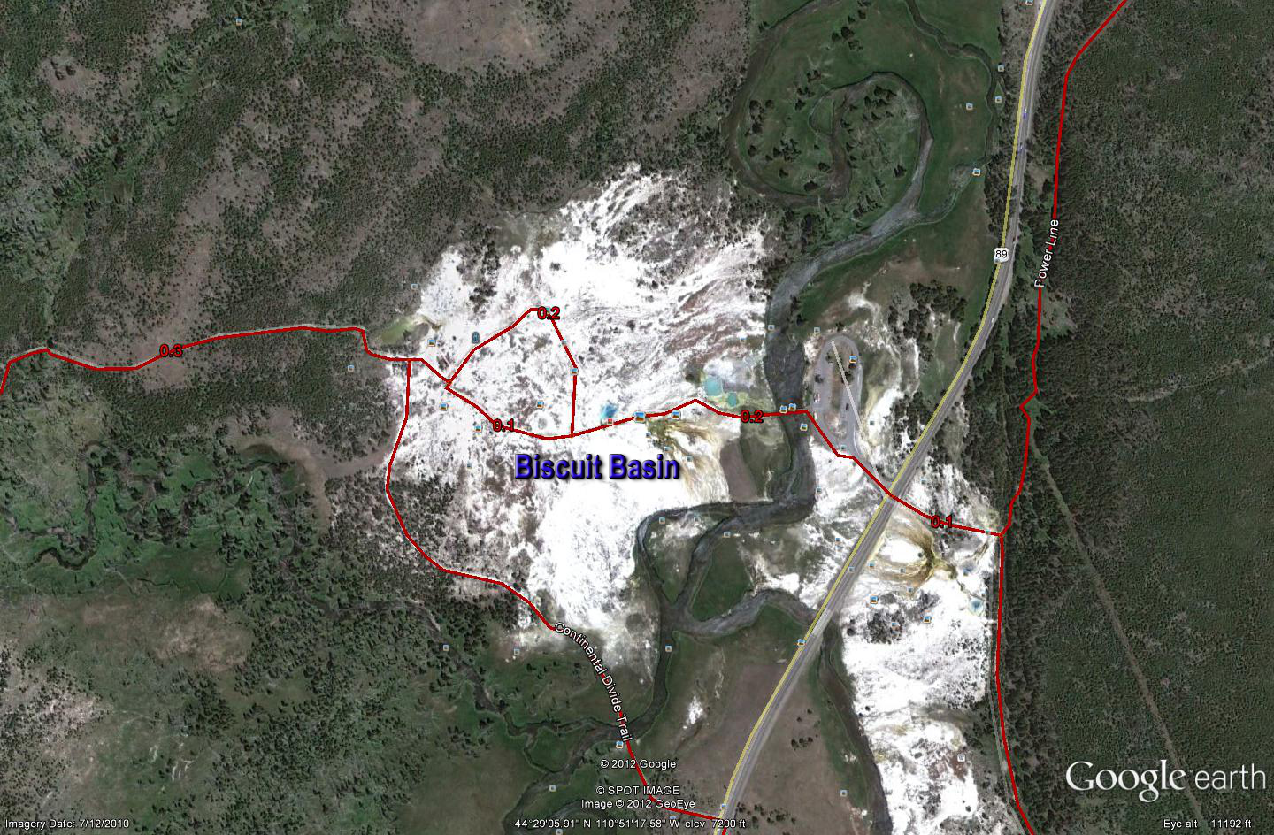 Google Biscuit Basin Geyser Map - Yellowstone National Park