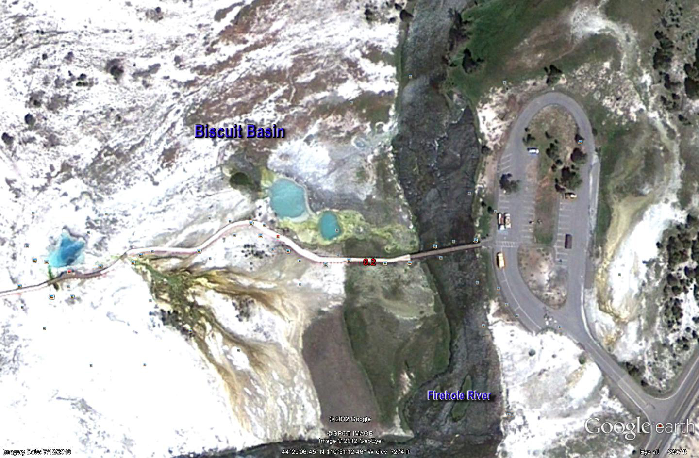 Google Biscuit Basin Geyser Map 2 - Yellowstone National Park