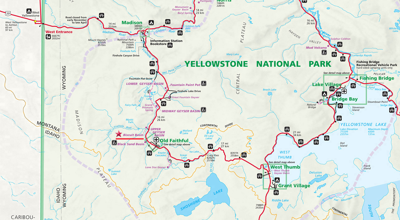 Biscuit Basin Map - Yellowstone National Park