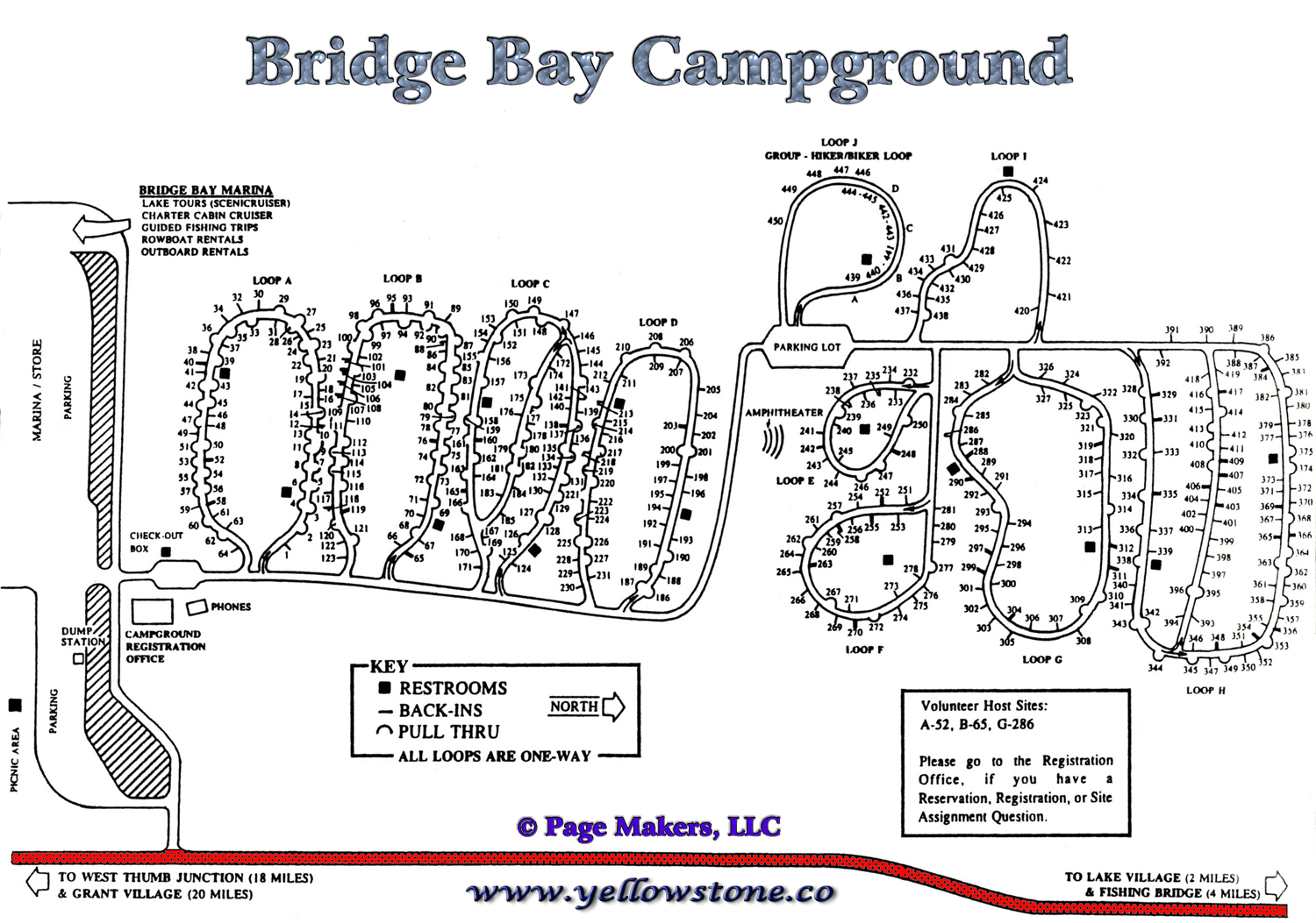 Bridge bay campground information map pictures and for Fishing bridge rv park