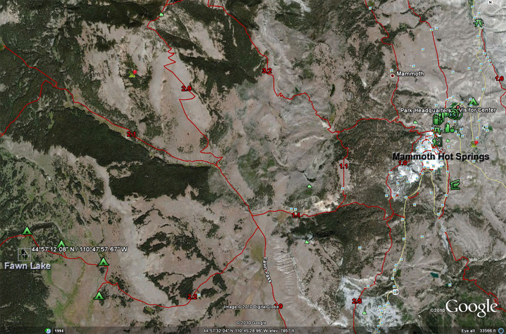 Fawn Lake Map - Yellowstone National Park ~ From Google Earth Maps © Copyright All Rights Reserved