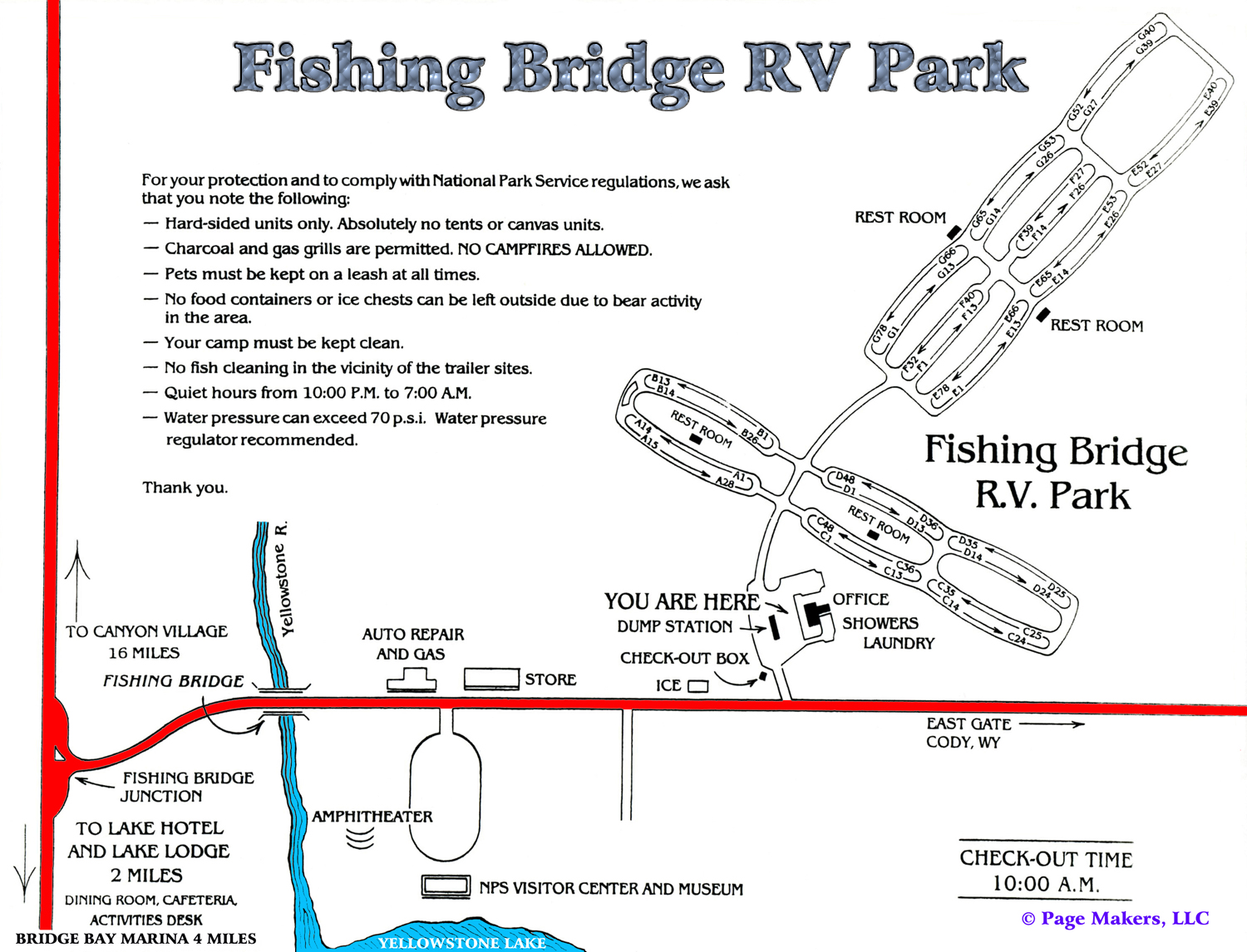 Fishing Bridge RV Campground Map ~ Yellowstone National Park