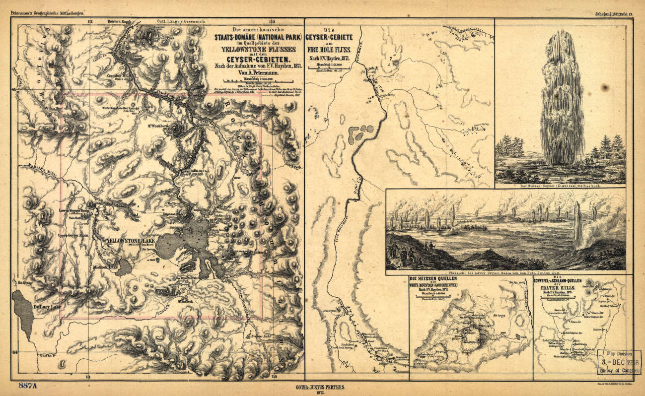 Yellowstone National Park 1872 German Map from the Library of Congress Collection