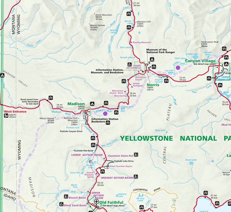 Gibbon River Map - Yellowstone National Park ~ NPS Map