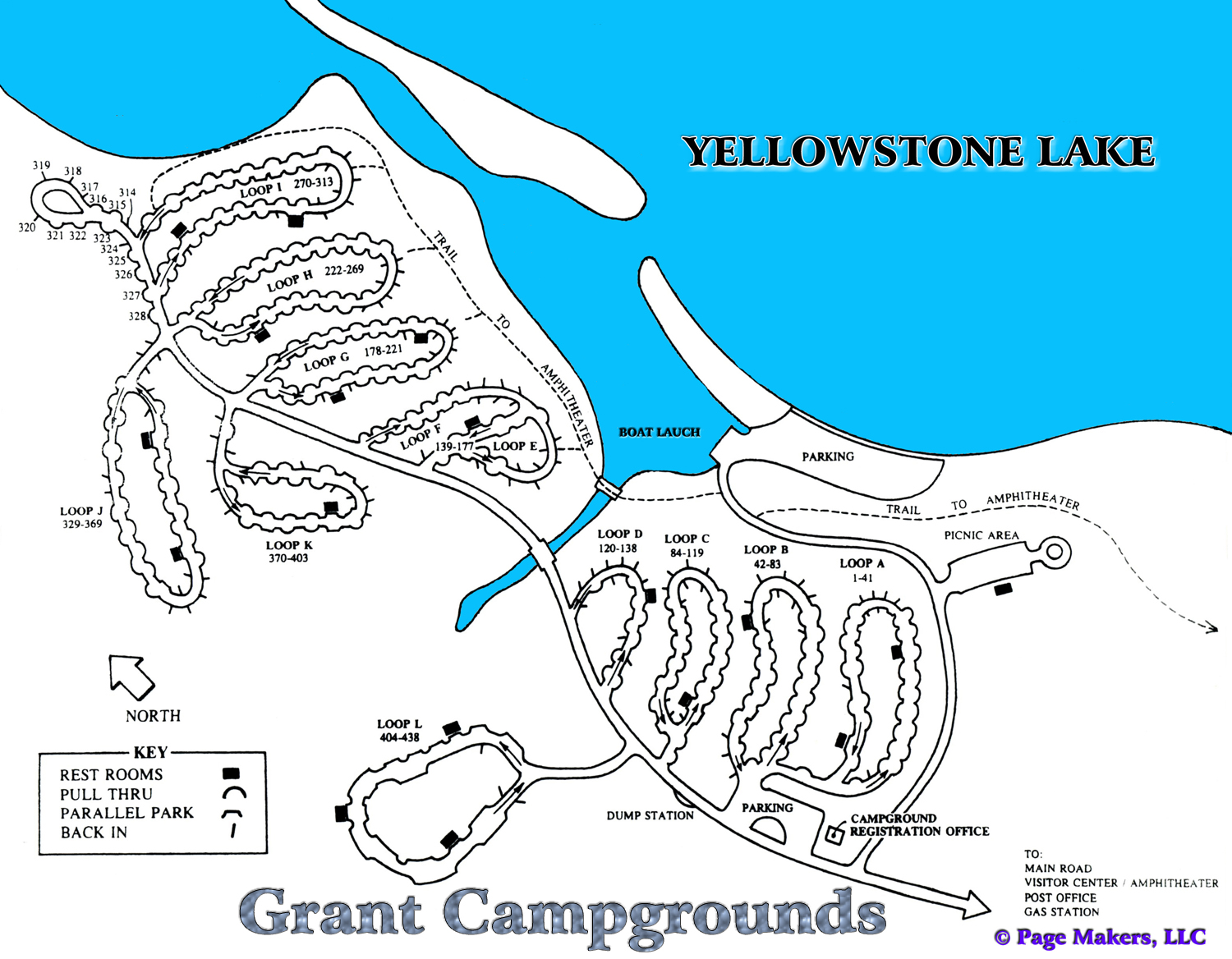 Grant Campground Map ~ Yellowstone National Park