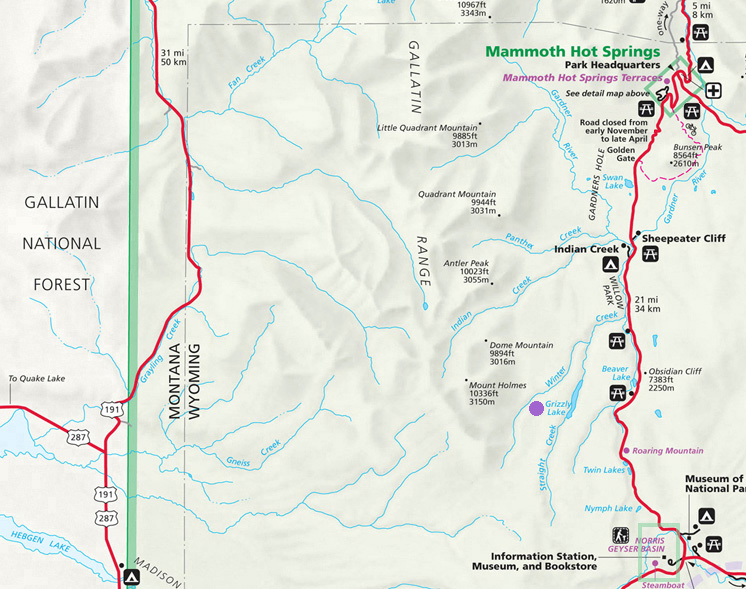 Grizzly Lake Map - Yellowstone National Park ~ NPS Map