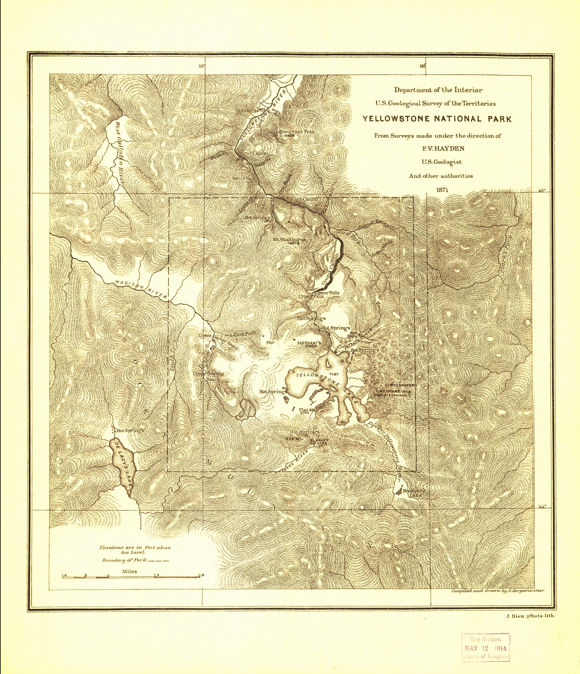 Yellowstone National Park 1871 Hayden Map from the Library of Congress Collection
