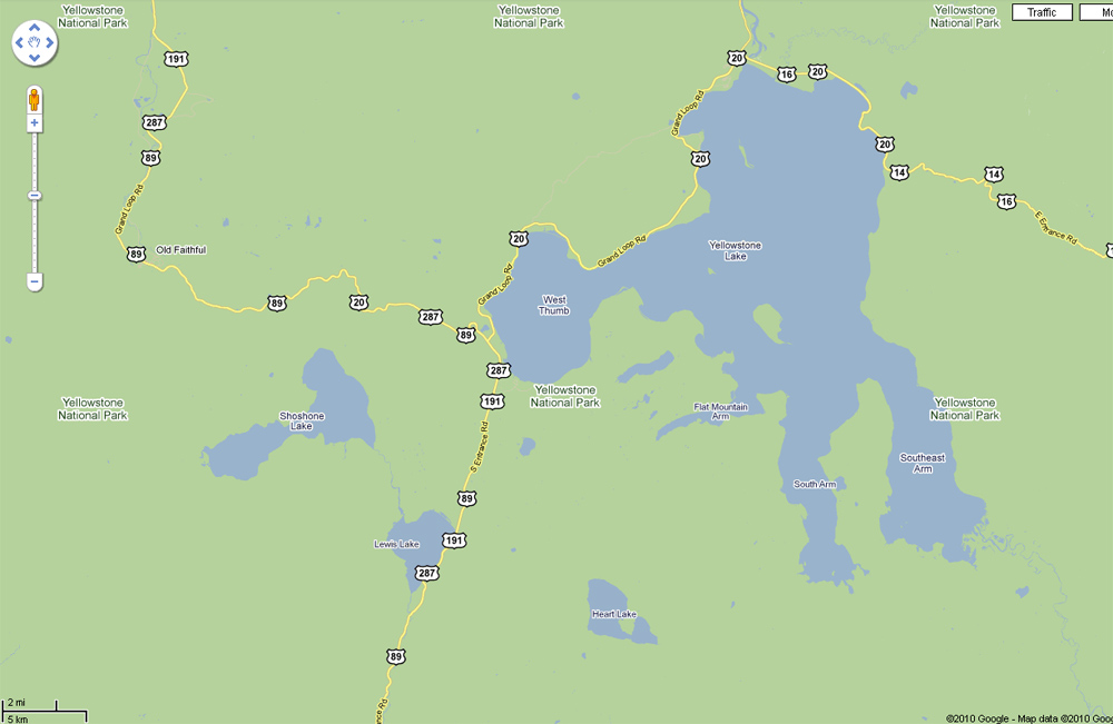 Heart Lake Map - Yellowstone National Park ~ From Google Earth Maps © Copyright All Rights Reserved