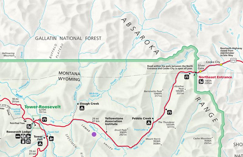 Lamar River Map - Yellowstone National Park ~ NPS Map