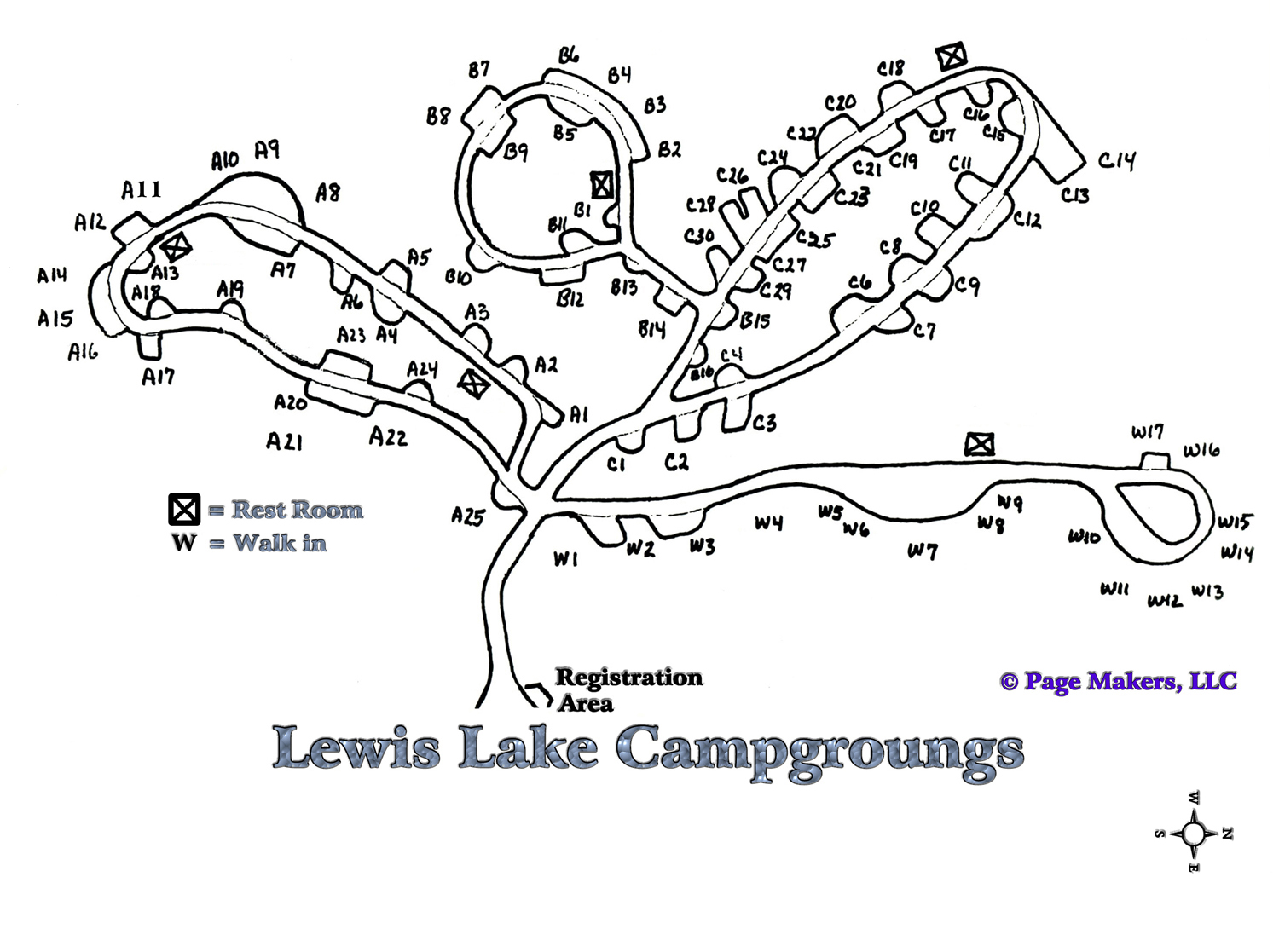Lewis Lake Campground Map ~ Yellowstone National Park