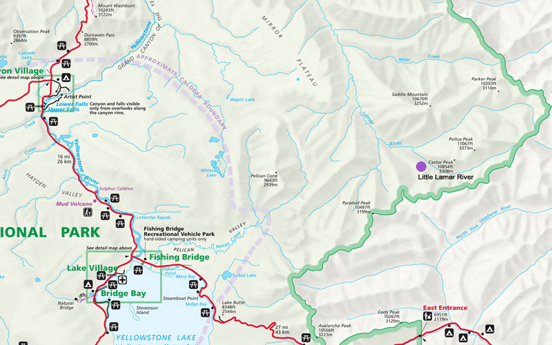 Little Lamar River Map - Yellowstone National Park ~ NPS Map