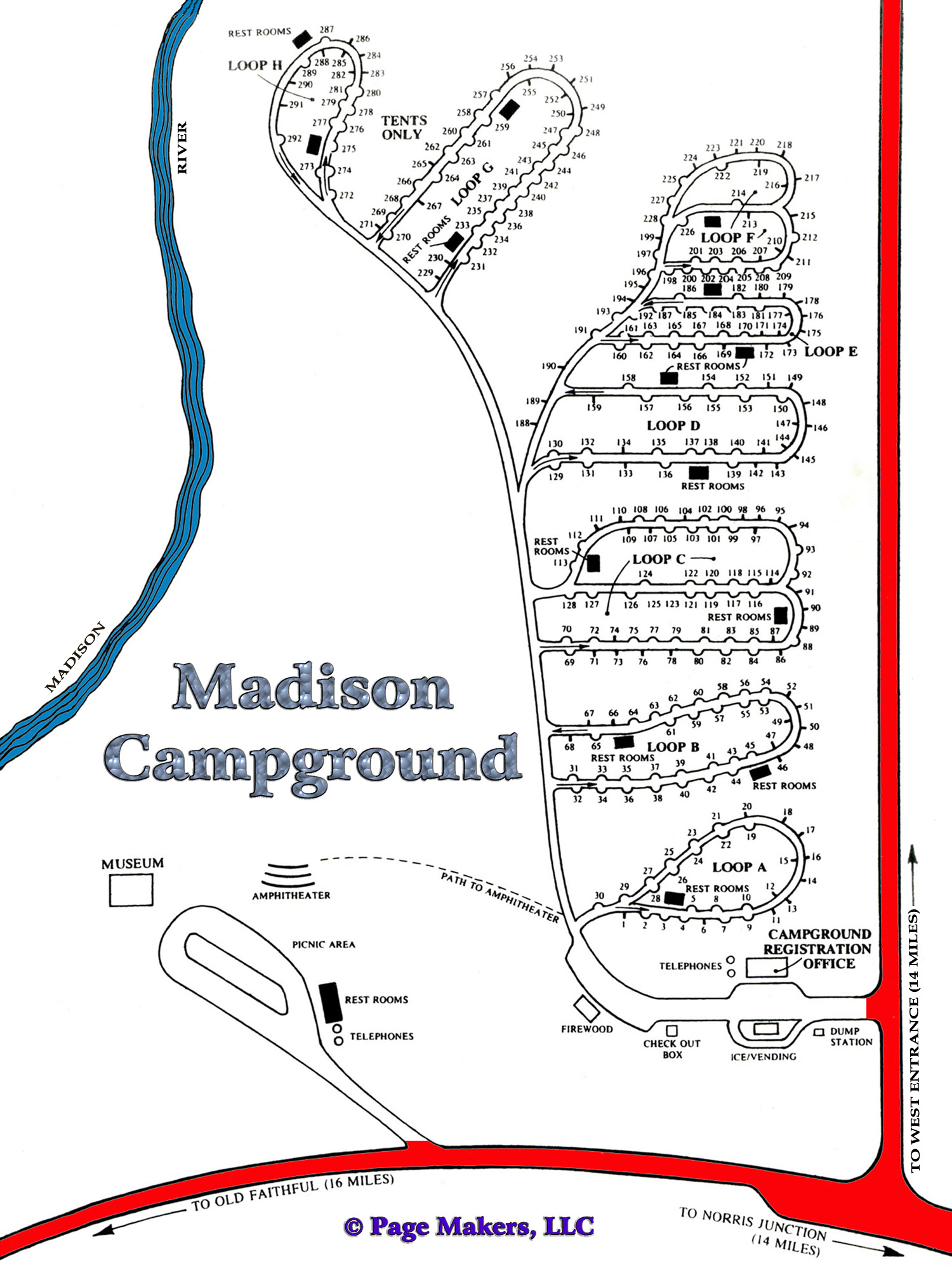 Madison Campground Map, Pictures and Video Yellowstone National Park ...