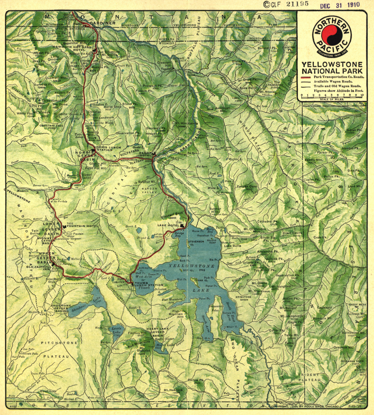 Yellowstone National Park 1910 Northern Pacific Map from the Library of Congress Collection