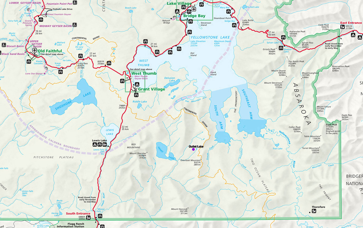 Outlet Lake Map - Yellowstone National Park ~ NPS Map