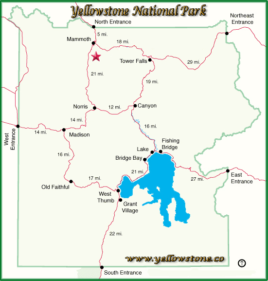 Rustic Falls Location Map - Yellowstone National Park