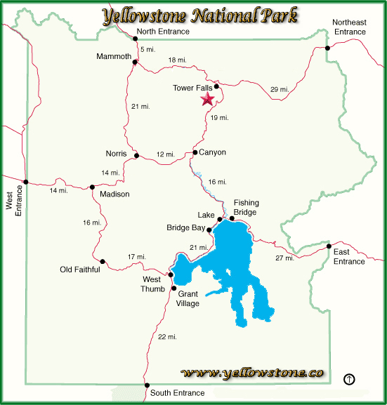 Tower Falls Location Map - Yellowstone National Park