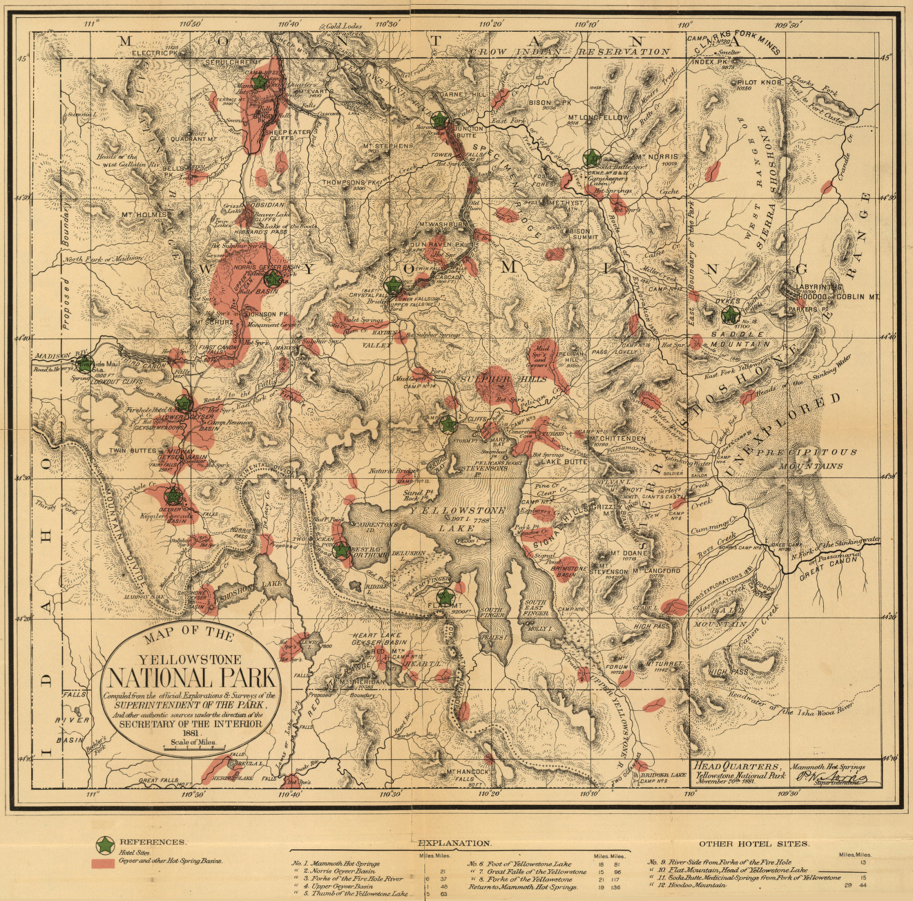 Yellowstone National Park 1881 Historical Map from the Library of Congress Collection