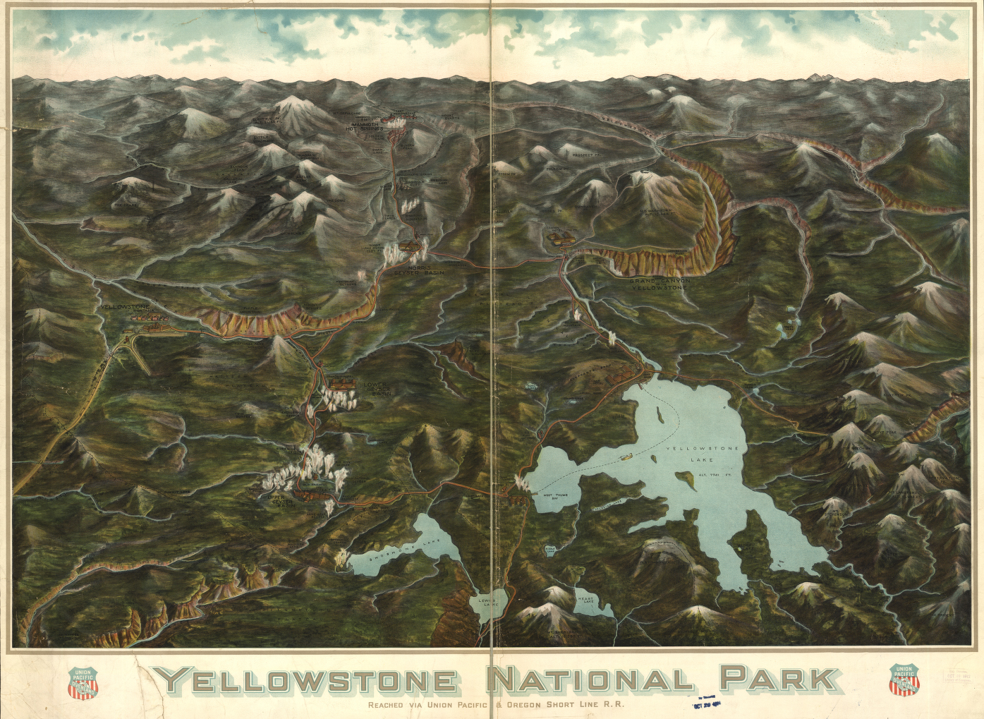 Yellowstone National Park Union Pacific Historical Map from the Library of Congress Collection