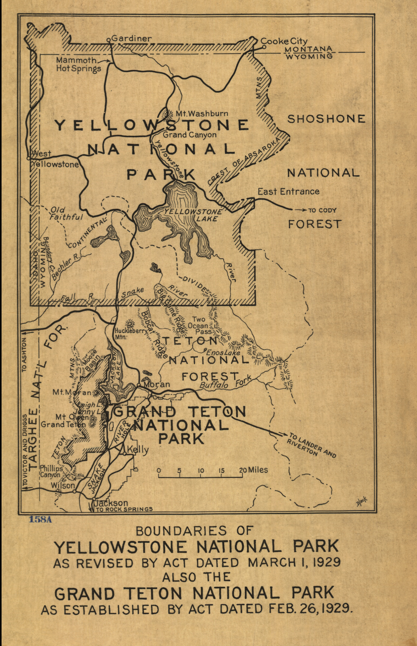 Yellowstone National Park 1929 Yellowstone and Grand Teton Map from the Library of Congress Collection