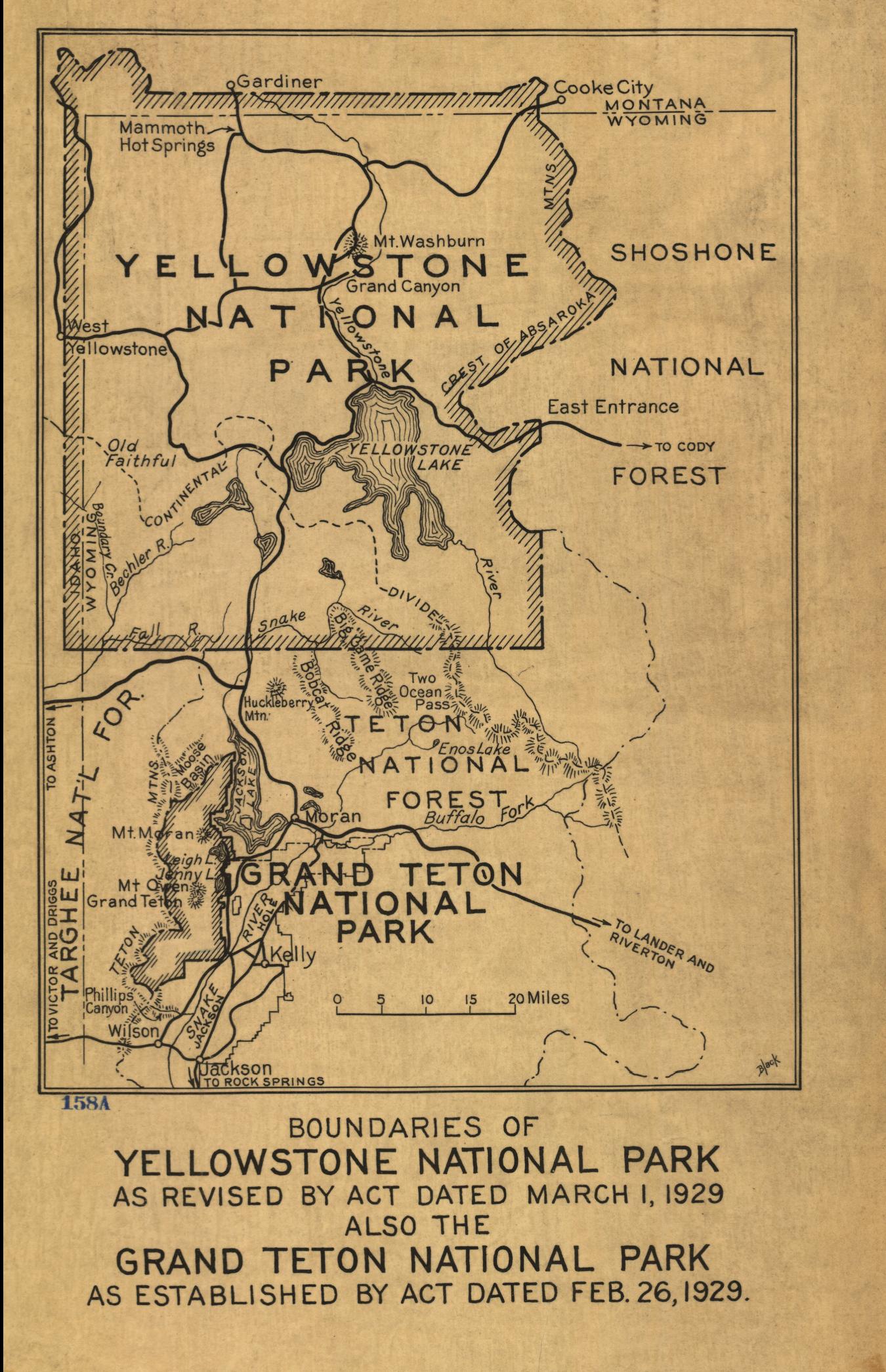 Yellowstone National Park 1929 Yellowstone and Grand Teton Map ...