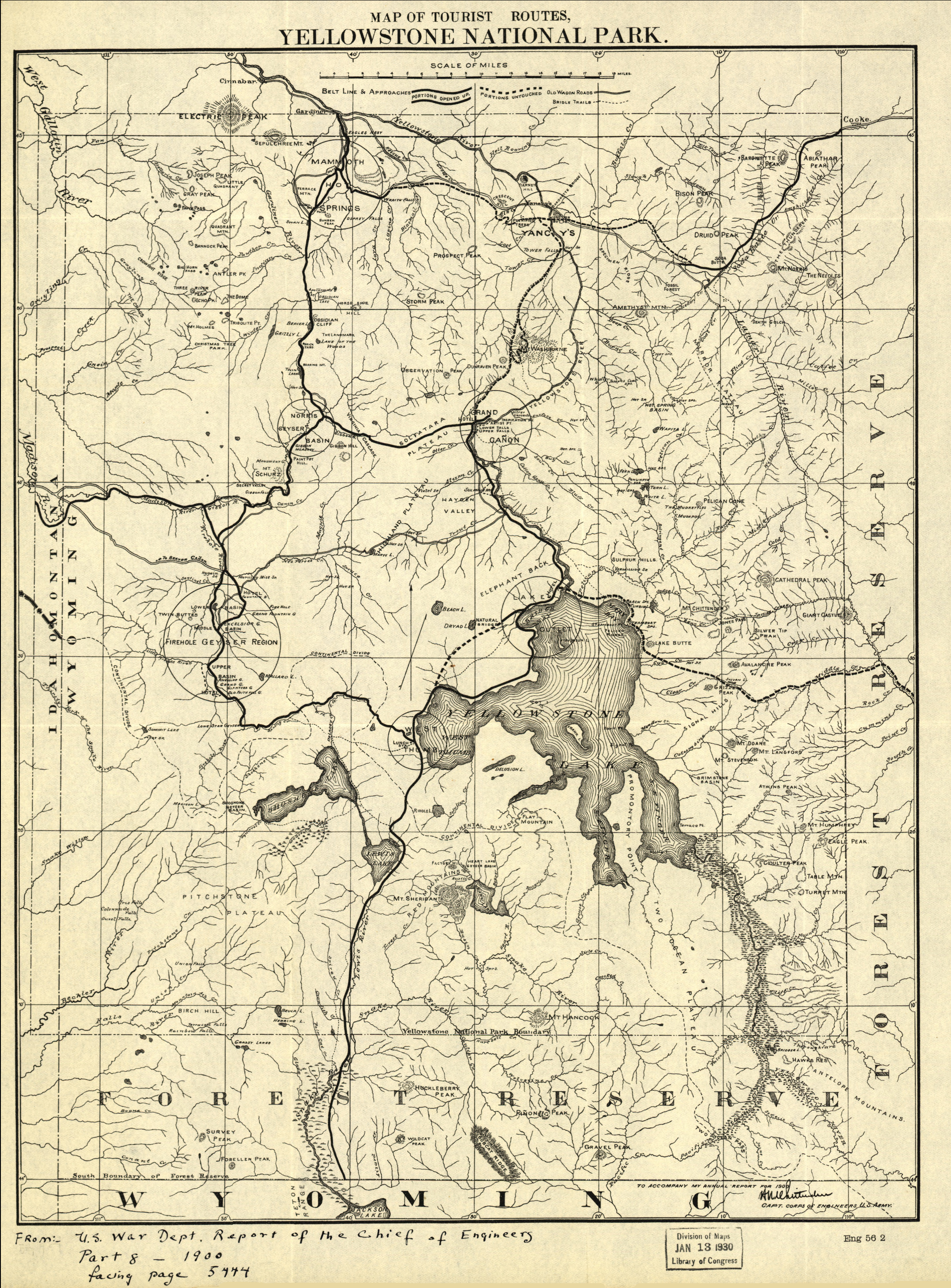 Yellowstone National Park 1900 Tourist Map from the Library of Congress Collection