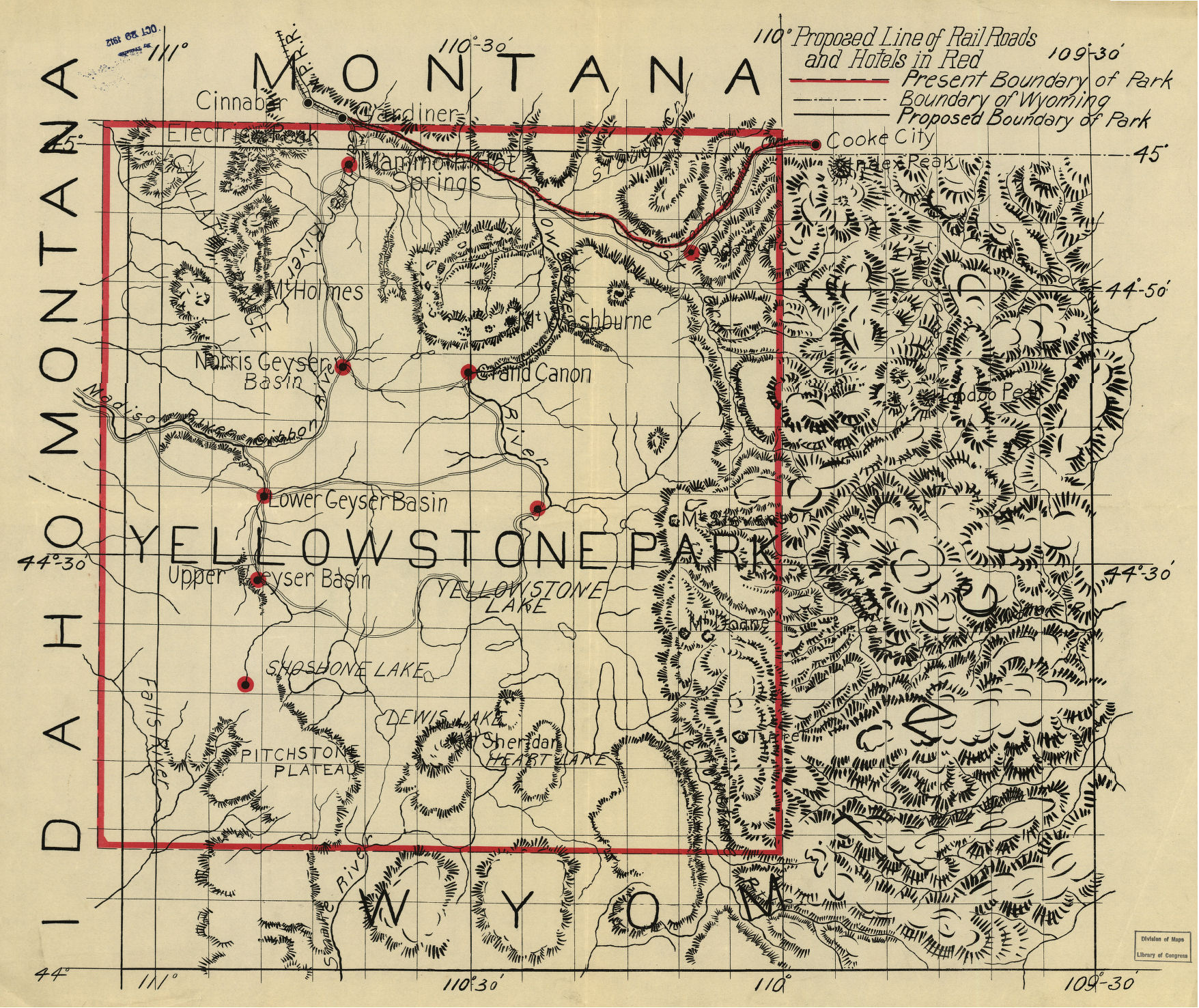 Yellowstone National Park 1912 Rail and Hotel Map from the Library of Congress Collection