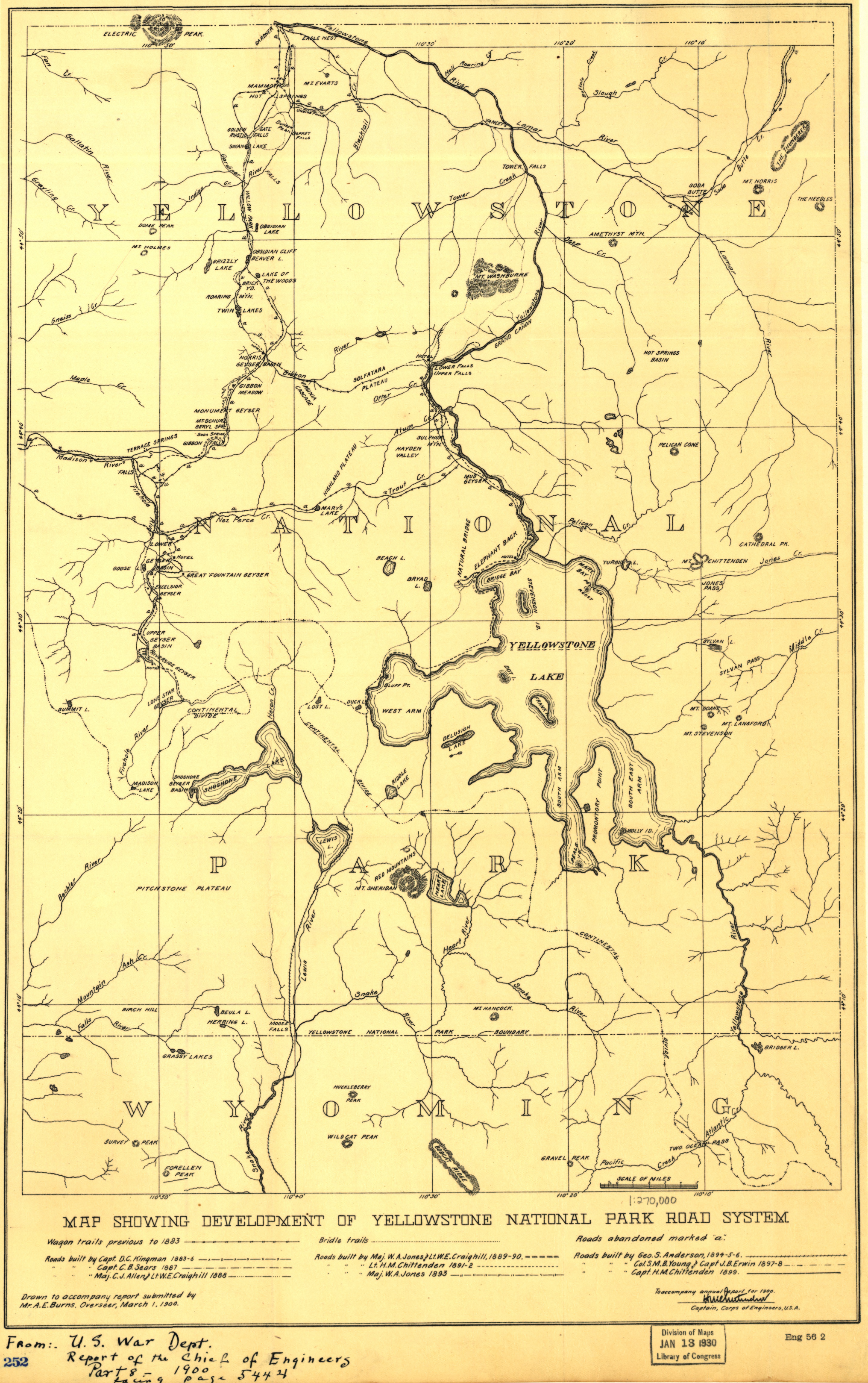 Yellowstone National Park Road System Map from the Library of Congress Collection