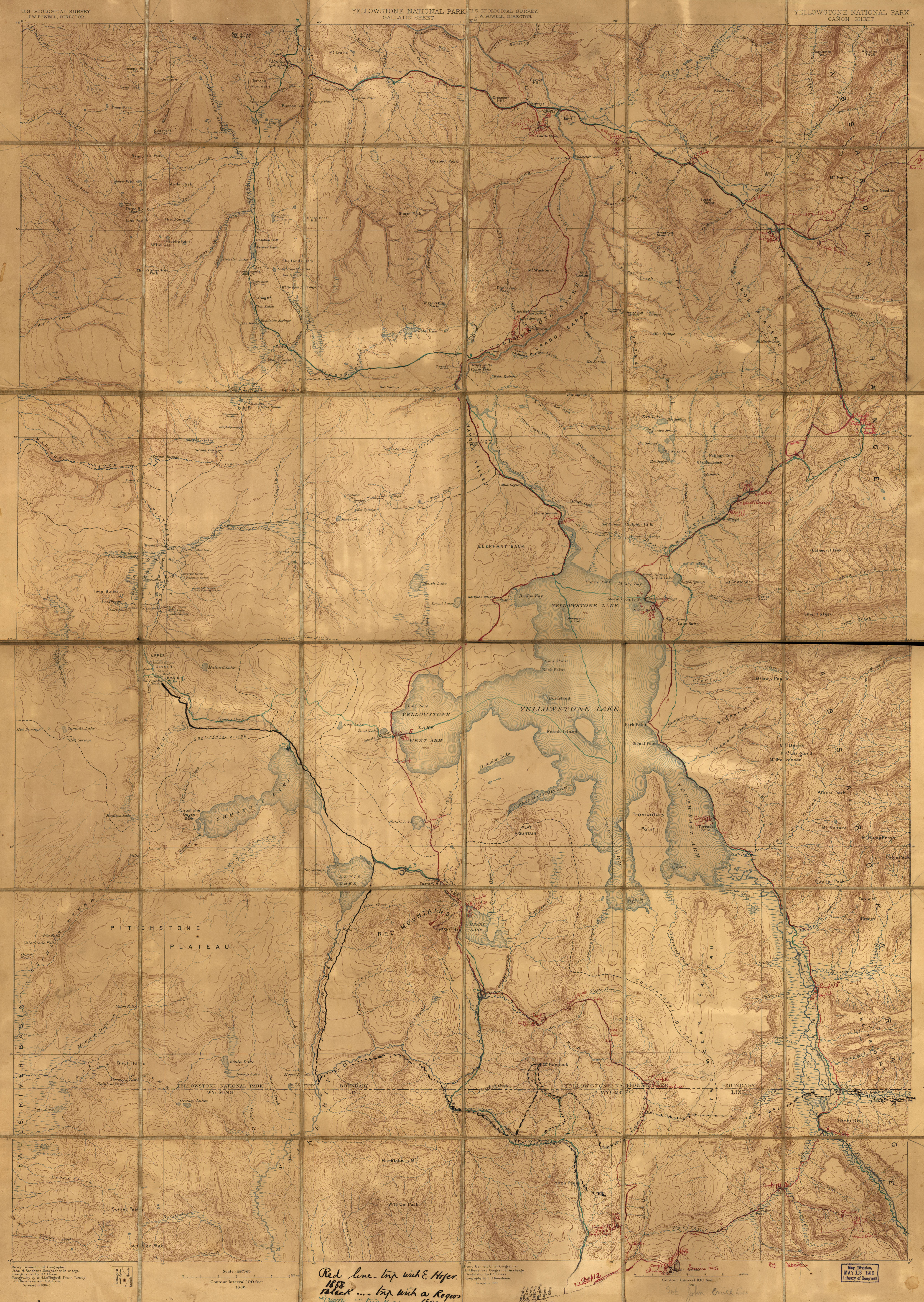 Yellowstone National Park 1884 Survey Map from the Library of Congress Collection