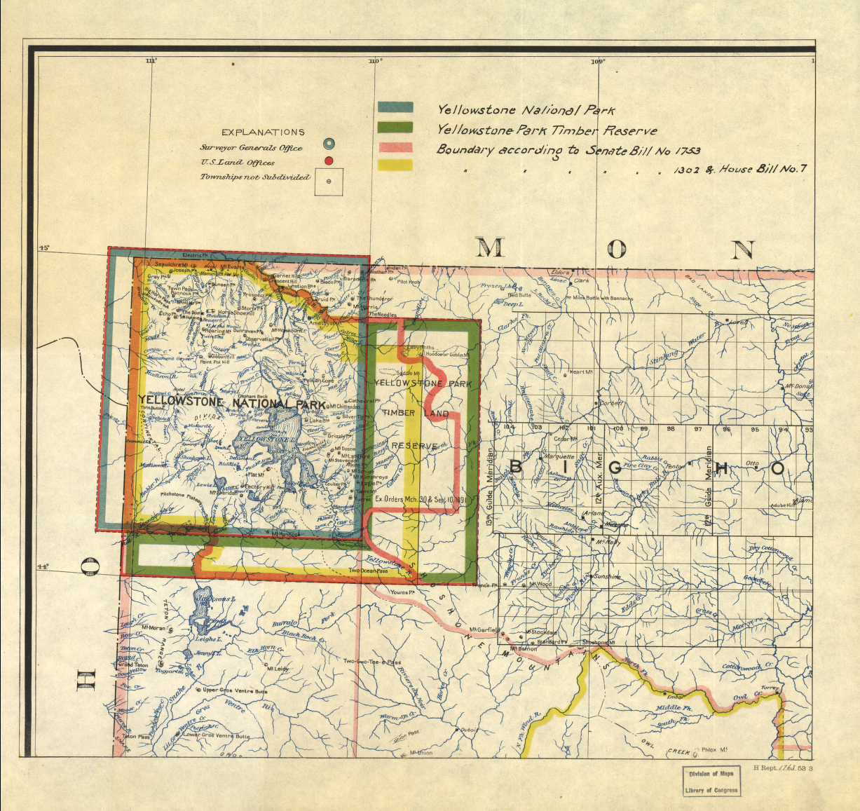 Yellowstone National Park Timber Map from the Library of Congress Collection