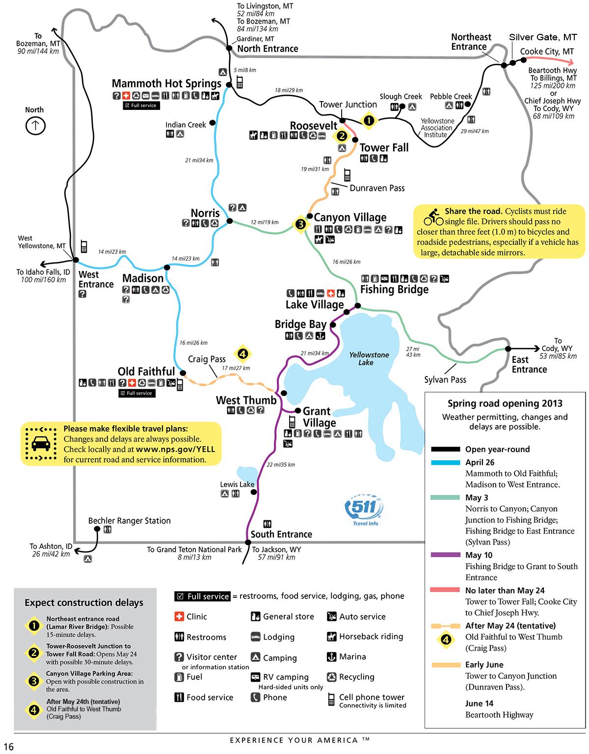 Yellowstone National Park Road Information Yellowstone Up Close