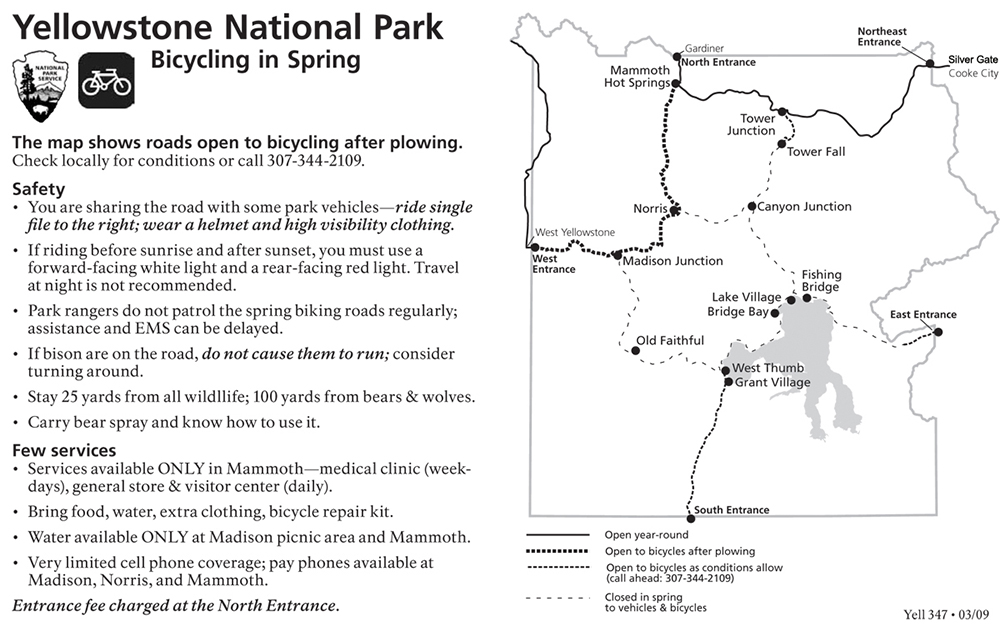 Spring Biking Information and Map - NPS Graphic