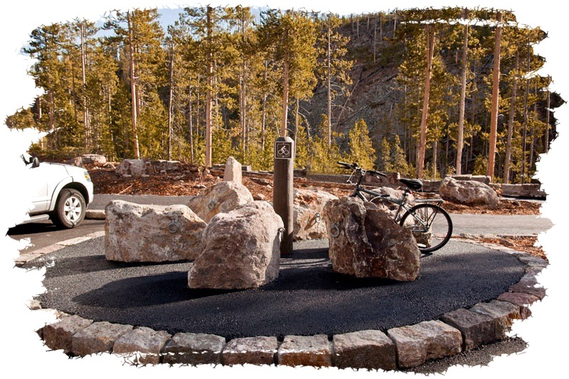 Bike Rack Rocks at Gibbon Falls by John William Uhler Copyright © All Rights Reserved