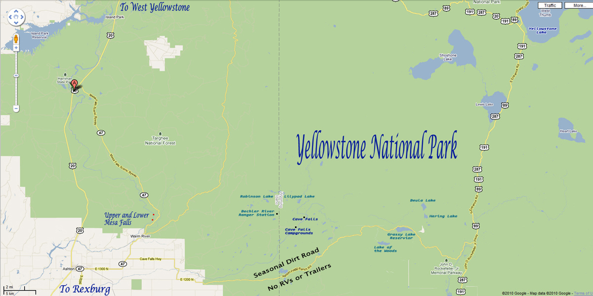 Mesa Falls Area Map of Idaho and Wyoming and Yellowstone National Park © Google
