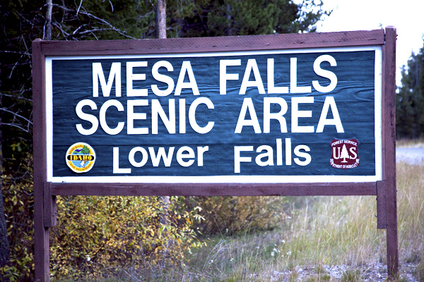 Mesa Falls Lower Falls Sign by John William Uhler © Copyright